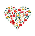 bright heart made beautiful flowers decorative vector image