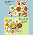 bulgarian cuisine healthy food dishes icon set vector image vector image