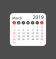 calendar march 2019 year in simple style calendar vector image
