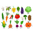 cartoon vegetables characters vector image vector image