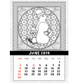 christmas penguin with gift calendar june 2019 vector image