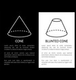 cone and blunted cone geometric shapes figures vector image