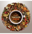 Cup of coffee with Thanksgiving doodle design vector image vector image