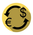 currency exchange sign euro and dollar vector image vector image