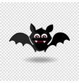 cute cartoon bat with fangs and red eyes on vector image
