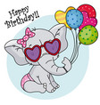 cute elephant with sunglasses and balloons vector image