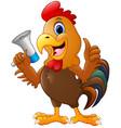 cute rooster cartoon holding a loudspeaker vector image