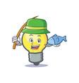 fishing light bulb character cartoon vector image vector image