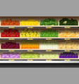 fresh vegetables display on shelf in supermarket vector image