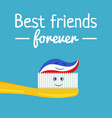 funny toothpaste and toothbrush friends vector image vector image