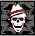 Gangster skull wearing fedora hat hand drawing