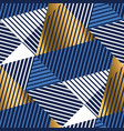 geometric gold and blue luxury seamless pattern vector image vector image