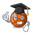 graduation volleyball character cartoon style vector image vector image