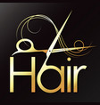 hair golden scissors symbol for a beauty salon vector image vector image
