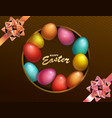 happy easter holiday with colored egg dark box vector image