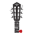 icon with guitar neck and pick vector image vector image