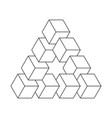 impossible triangle 3d cubes arranged as vector image vector image