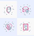insurance thin line icons set vector image vector image