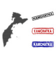 kamchatka peninsula map in halftone dot style with vector image