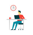 man working at computer on white background vector image vector image