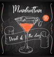 manhattan cocktail hand drawn drink on white vector image vector image