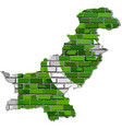 pakistan map on a brick wall vector image vector image