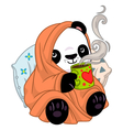 Panda in a cozy blanket with tea vector image vector image