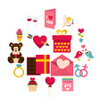 saint valentine icons set in flat style vector image