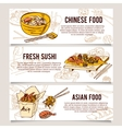 set asia street food horizontal banners vector image