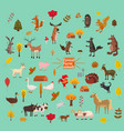 set of cute and cute farm and forest animals fox vector image vector image