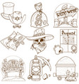 set of outline on the theme of the wild west vector image vector image
