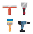 set tools putty knife spatula brush electric vector image vector image