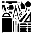Stationery tools silhouettes set vector image vector image