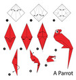 Step instructions how to make origami a parrot