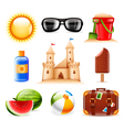 Summer and beach related icons vector image vector image