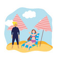 summer people activities man and woman resting on vector image