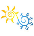 sun and snowflake symbol for air conditioning vector image vector image