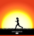 sunset background with running woman black vector image