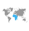 the map of africa is highlighted in blue on the vector image vector image