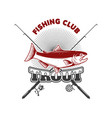 trout fishing emblem template with trout fish vector image vector image