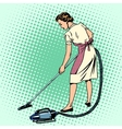 Woman vacuuming the room housewife housework vector image vector image