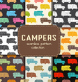 Auto Travel Seamless Patterns Collection vector image