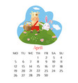 april calendar page 2021 with bull holding easter vector image vector image