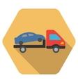 Car Evacuation Flat Hexagon Icon with Long Shadow vector image vector image