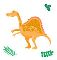 cartoon dinosaur isolated vector image vector image