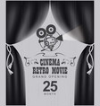 cinema poster with black curtains and camera vector image vector image