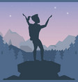 color night landscape silhouette of climber woman vector image vector image