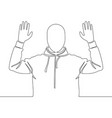 continuous line drawing man surrendering vector image