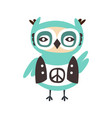 cute cartoon owl bird with peace sign on its cloth vector image vector image