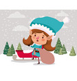 cute girl santa helper with gifts sack and sled vector image